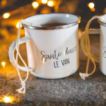 Mug émaillé personnalisable sachet de thé