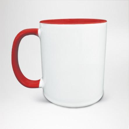 Mug Bicolore en céramique personnalisé rouge