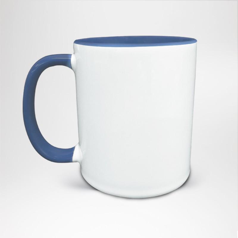 Mug Bicolore en céramique personnalisé bleu
