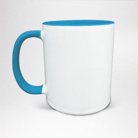 Mug Bicolore en céramique personnalisé bleu clair