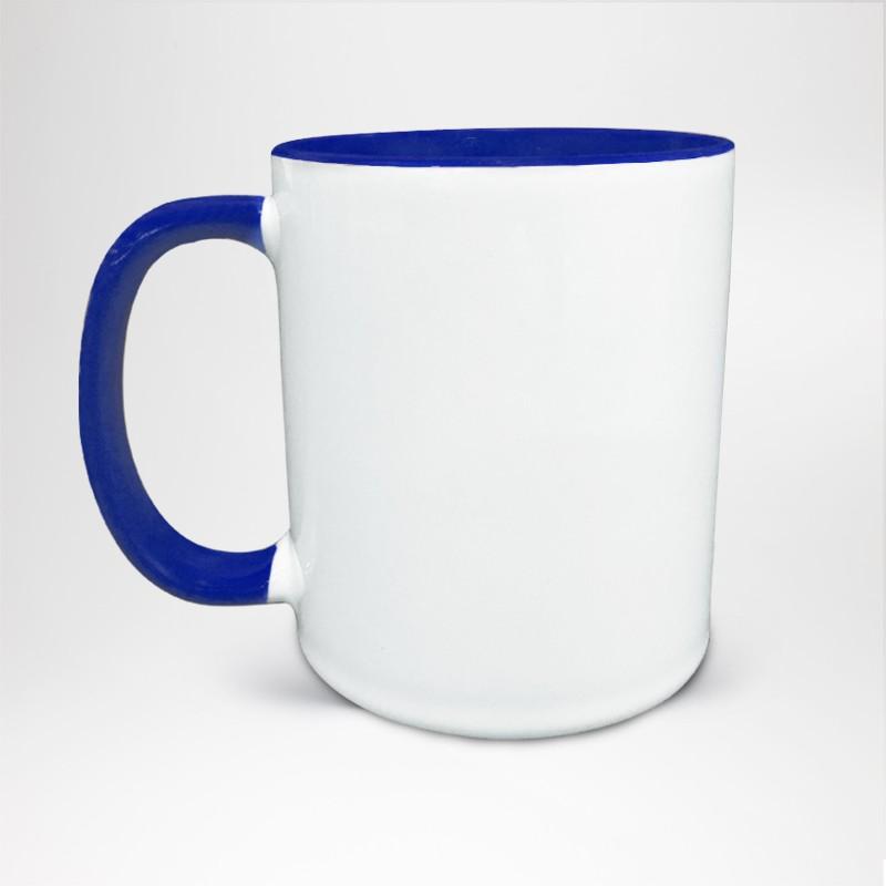 Mug Bicolore en céramique personnalisé bleu royal