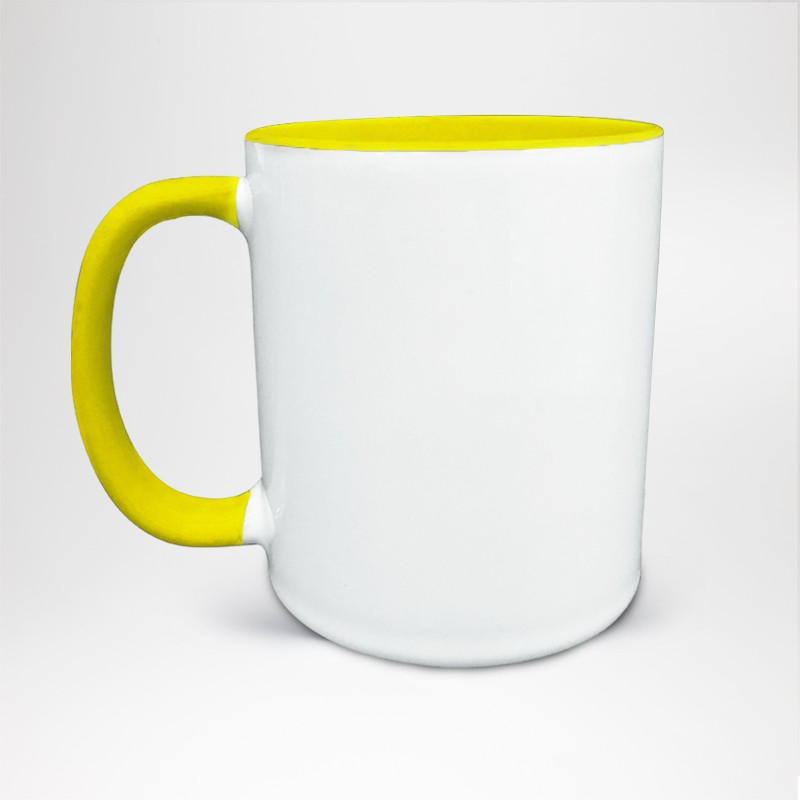 Mug Bicolore en céramique personnalisé jaune