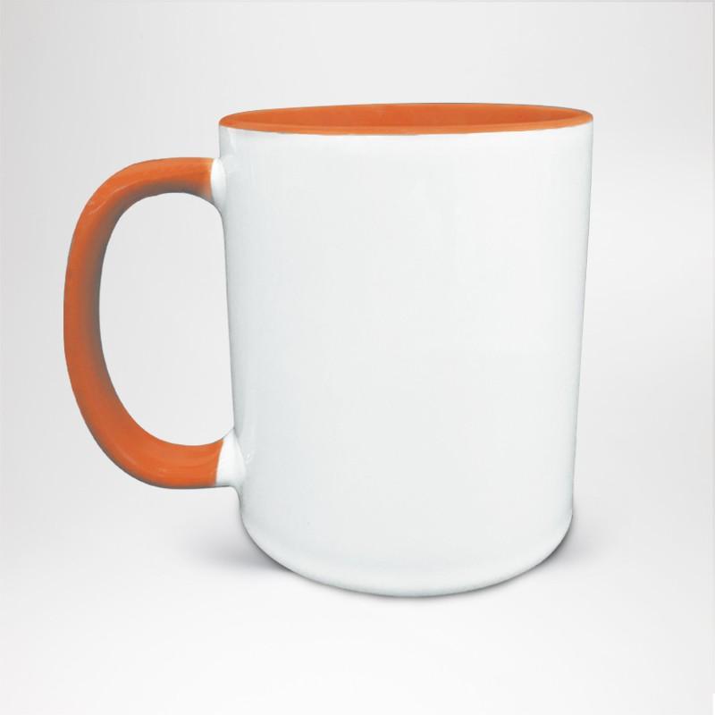 Mug Bicolore en céramique personnalisé orange
