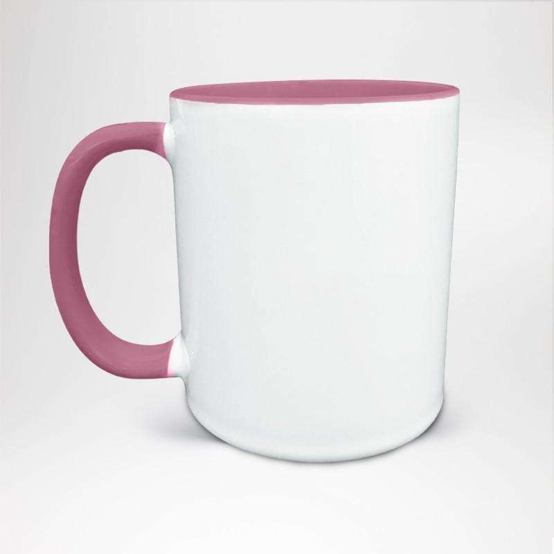 Mug Bicolore en céramique personnalisé rose