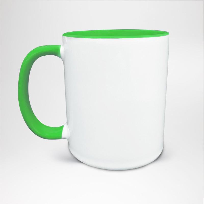 Mug Bicolore en céramique personnalisé vert clair